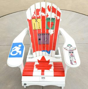 MUskoka Chair painted for Canda Day 150